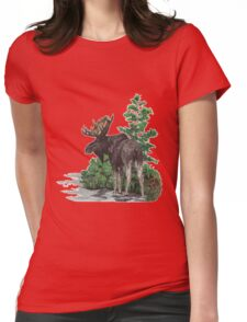 Moose watercolor  Womens Fitted T-Shirt