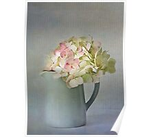 Blue jug with hydrangeas Poster