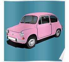 Retro automobile Fiat 600 Poster