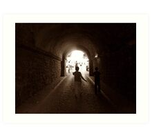 Walking to out of tunnel. Art Print