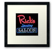 NightLife : Rick's Sporting Saloon Framed Print