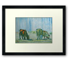 Feel The Heat - Cattle grazing under the hot sun Framed Print