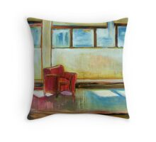 Waiting, mixed media on canvas Throw Pillow