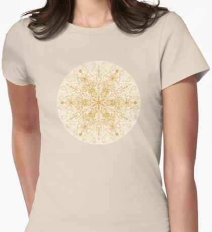 Sepia Snowflake Doodle Womens Fitted T-Shirt