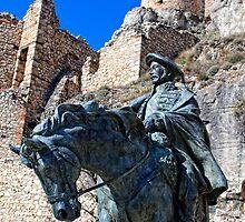 Statue at Morella Castle, Castellon, Spain by Andrew Jones