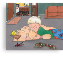 All Played Out - Sleeping Boy and Dog Canvas Print