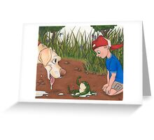 I Brought You a Present (Dog and Frog) Greeting Card