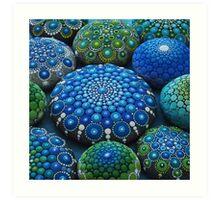 Cool Tone Mandala Stone Collection Art Print