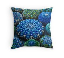 Cool Tone Mandala Stone Collection Throw Pillow