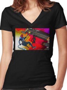 Mass Effect Cartoon - Husk Attack Women's Fitted V-Neck T-Shirt