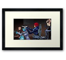 Mass Effect Cartoon - An Attack on the Cerberus Base Framed Print