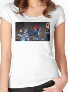 Mass Effect Cartoon - An Attack on the Cerberus Base Women's Fitted Scoop T-Shirt
