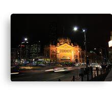 Flinders Street by Night - Melbourne Canvas Print