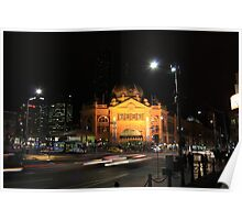 Flinders Street by Night - Melbourne Poster