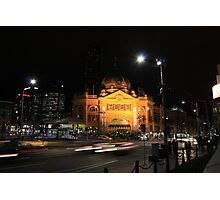 Flinders Street by Night - Melbourne Photographic Print