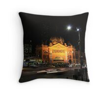 Flinders Street by Night - Melbourne Throw Pillow