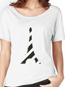 Girly black white french eiffel tower mod stripes geek funny nerd Women's Relaxed Fit T-Shirt