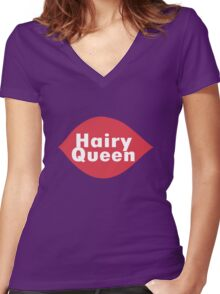 Hairy queen parody logo geek funny nerd Women's Fitted V-Neck T-Shirt
