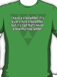 I have a stepladder. It's a very nice stepladder' but it's sad that I never knew my real ladder. T-Shirt
