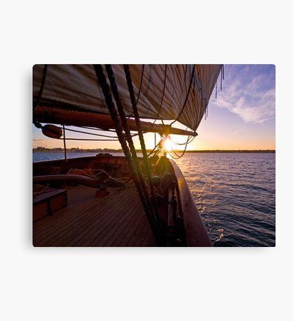We set sail at sunset Canvas Print