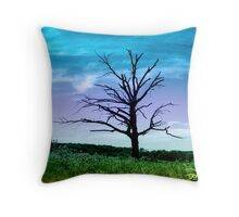 Dead Tree in Meadow Colorized Throw Pillow