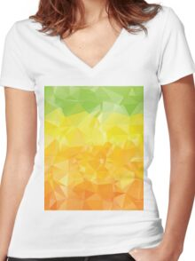 Green Yellow Orange Polygons  Women's Fitted V-Neck T-Shirt
