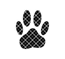 Black And White Tartan Dog Paw Print Photographic Print