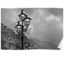 Stormy skies over Positano. Poster