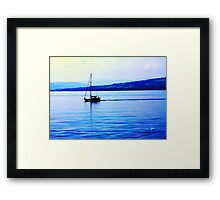 Calm Sailing Boat On Blue Water Framed Print