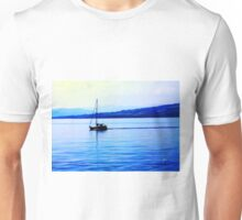Calm Sailing Boat On Blue Water Unisex T-Shirt