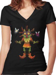 Skull Kid Women's Fitted V-Neck T-Shirt