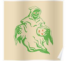 Spooky Ghost Holding Pumpkin Poster