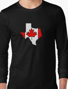 Texas outline Canada flag Long Sleeve T-Shirt