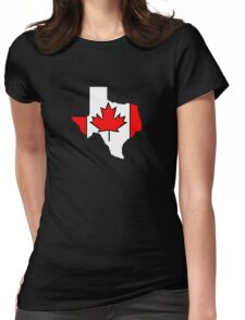Texas outline Canada flag Womens Fitted T-Shirt
