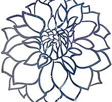 Blue Water Color Dahlia by Longeareddesign