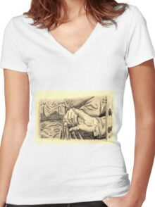 Hands in sepia Women's Fitted V-Neck T-Shirt