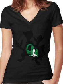 Treecko - Grovyle - Sceptile Women's Fitted V-Neck T-Shirt