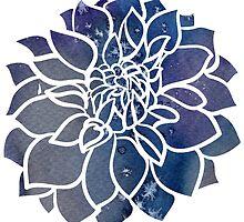 Blue Watercolor Dahlia by Longeareddesign