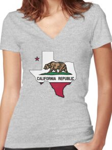 Texas outline California flag Women's Fitted V-Neck T-Shirt