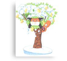 A Fat Fox In A Pear Tree Canvas Print