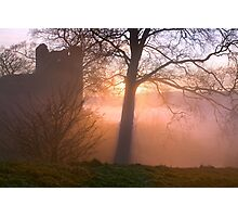 Misty sunset at Kendal Castle Photographic Print