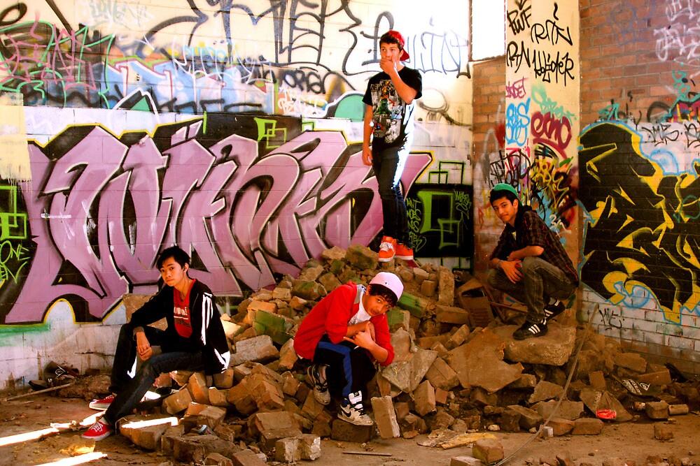 Graffiti Crew Among Rubble by Raoul Isidro
