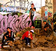 Graffiti Crew Among Rubble by Raoul Isidro