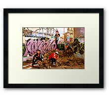 Graffiti Crew Among Rubble Framed Print