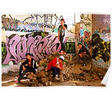 Graffiti Crew Among Rubble Poster