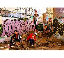 Graffiti Crew Among Rubble Photographic Print