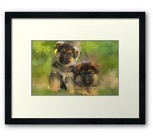 Playful Pups Framed Print