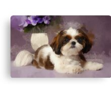 Puppy Resting on Table Canvas Print