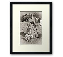Young Girl and Her Pet Framed Print