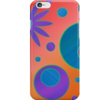 Flowers and Circles Orange, Blue, Purple iPhone Case/Skin